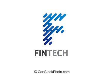 Modern logo concept design for fintech and digital finance technologies