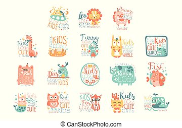Modern logo design for kids with animals and fantasy characters