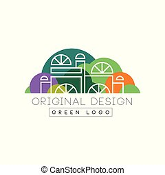 Modern logo design with city mall in line style against green park background. Entertainment center. Colorful vector label for business company or promo flyer