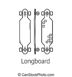 Modern Long board Desk Set - Longboard deck vector...