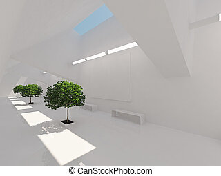 Modern long corridor with billboard