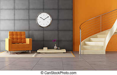 modern louge with staicase modern room with wooden