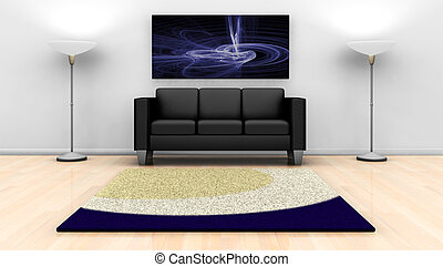 Modern lounge - 3D render of a contemporary lounge with...