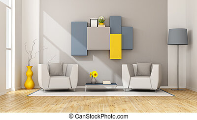 Modern lounge with two armchair and wall unit on wall - 3D...