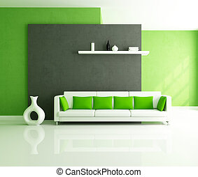 modern lounge - minimalist green and balck interior with...