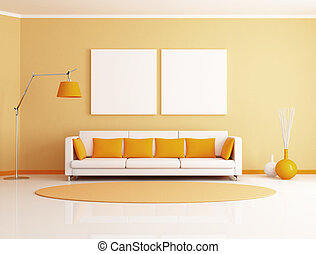 orange and white minimalist living room - rendering