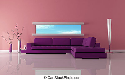 purple with narrow horizontal window-rendering-the image on back ground is a my photo