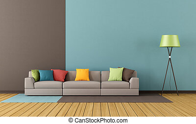 Modern lounge with colorful sofa  - rendering