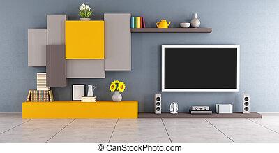 Modern lounge with tv set