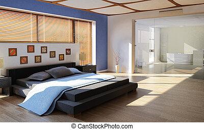 modern luxury bedroom with bathroom