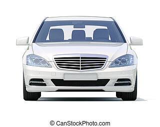 Modern luxury executive car on a white background