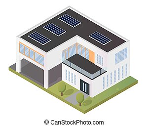 Modern Luxury Isometric Green Eco Friendly House With Solar...