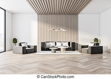 Modern luxury living room interior design, with large window, white walls and wooden floor and sofa
