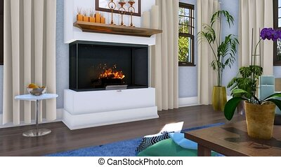 Modern luxury living room interior with fireplace - Simple...