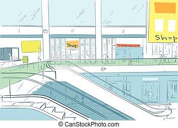 Modern Luxury Mall Shopping Center with Escalators