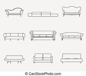 Modern luxury sofas and couches furniture icons set for living room vector illustration.