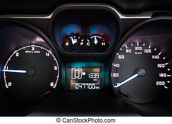 Modern luxury sport car. Speed control dashboard