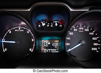 Modern luxury sport car. Speed control dashboard