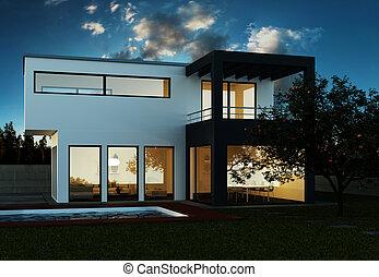 modern Luxury Villa with Pool 3d Illustration