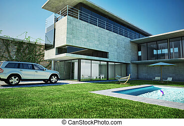 Modern luxury villa with swimming pool. Very stylish...