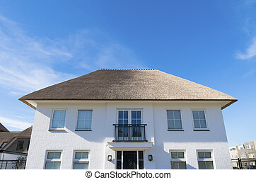 modern luxury white villa with a thatched roof