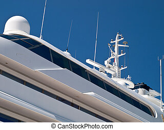 modern luxury yacht - detail of upper deck and main deck on...