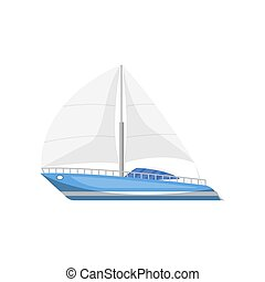 Modern luxury yacht side view isolated icon