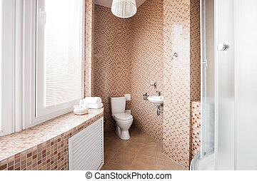 Badezimmer, modern, luxus, inneneinrichtung, fenster ...