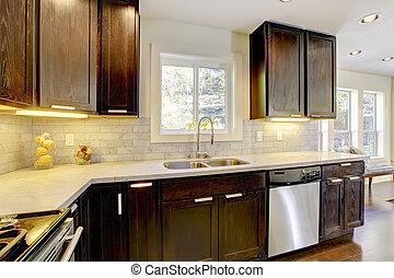 brauner wei es modern kueche brauner modern farben stockbild suche fotos und foto. Black Bedroom Furniture Sets. Home Design Ideas