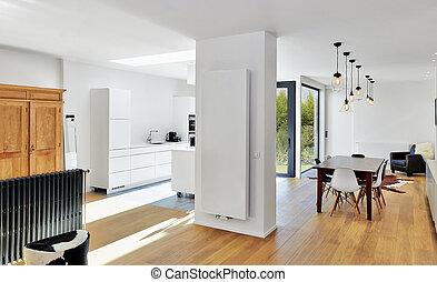 modern, luxus, wohnzimmer, und, kueche