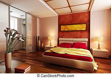 modern, mód, hálószoba, belső, 3