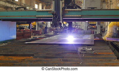 Modern machine for automatic plasma cutting of metal,...