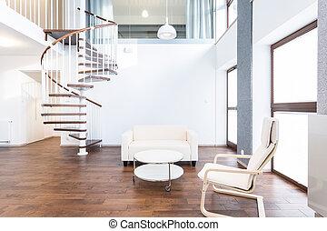 Modern main room - Big modern main room with coffee table...