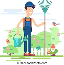 Modern male character - gardener standing in garden in coverall with rake and watering can. Vector illustration in flat design.