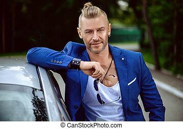modern man by car