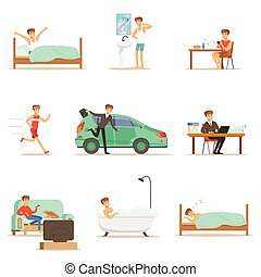 Modern Man Daily Routine From Morning To Evening Series Of...