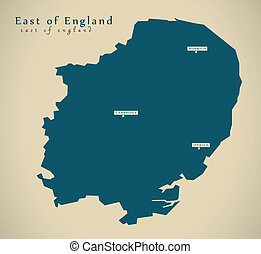 Modern Map - East of England UK Illustration