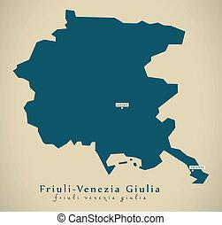 Modern Map - Friuli-Venezia Giulia IT Italy