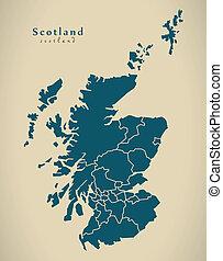 Modern Map - Scotland with regions UK illustration