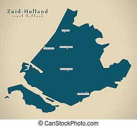 Modern Map - Zuid Holland NL illustration