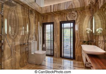 Modern marble bathroom in modern house