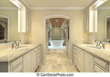Modern master bath in new construction home with large tub