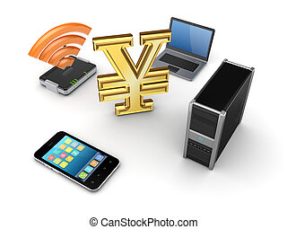 Modern media devices and notebook around yen.