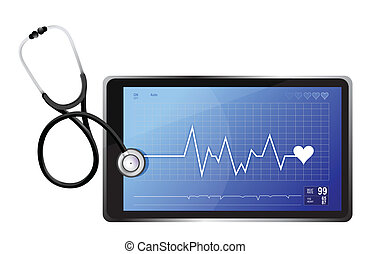 modern medical app tablet with a Stethoscope