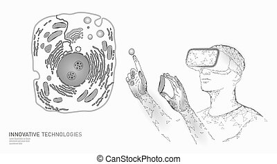 Modern medicine virtual reality cell healing. Artificial cell 3D synthesis animal human designer cell biochemistry. GMO bioethics solution vector illustration