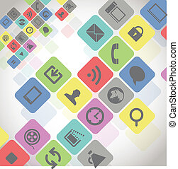 modern, medien, heiligenbilder, in, farbe, quadrate