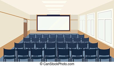 modern meeting conference presentation room interior with blue chairs and blank screen lecture seminar hall large sitting capacity empty no people horizontal