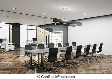 Modern meeting room interior with furniture,
