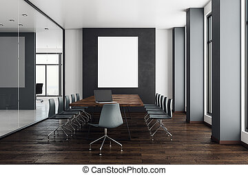 Modern meeting room with empty banner