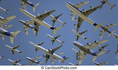 modern, Mehrfach, fliegendes,  seamless, Reise, hoch, Oben,  animation,  4k, Verkehrsflugzeuge, flug, Begriffe, Luft, Geschwindigkeit, oder, schleife, Verunreinigung